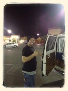 Brandon or Brendan showing me his van...