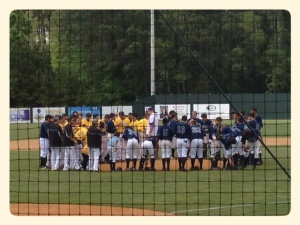 Saying a prayer together after the game.