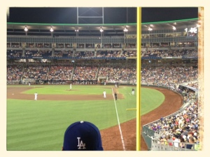 Look a Dodger fan at the College World Series!