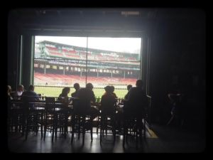 The Bleacher Bar view of Fenway where I am writing!