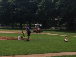 Billy and Tyler preparing the field!